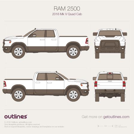 2018 Ram 2500 Mk V Pickup Truck blueprints and drawings