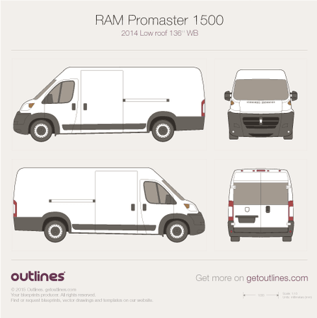 2014 Ram ProMaster 1500 Cargo Van blueprints and drawings