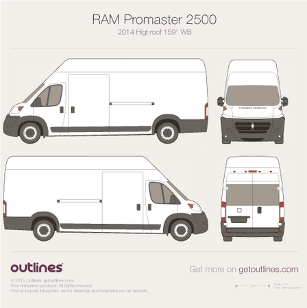2014 Ram ProMaster 2500 Cargo Van blueprints and drawings