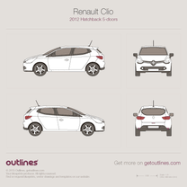 2012 Renault Clio IV 5-door Hatchback blueprint