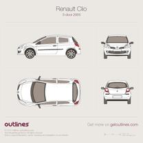 2005 Renault Clio III 3-door Hatchback blueprint