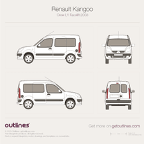 2003 Renault Kangoo Crew Van L1 Facelift Van blueprint