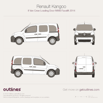 2014 Renault Kangoo Van Crew Loading Door MWB Facelift Wagon blueprint