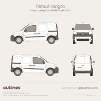 2014 Renault Kangoo Van Loading Door MWB Facelift Van blueprint