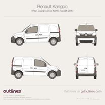 2014 Renault Kangoo Van Loading Door MWB Facelift Van blueprint
