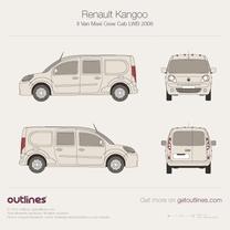 2008 Renault Kangoo Maxi Van Crew Cab LWB Van blueprint
