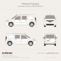 2014 Renault Kangoo Maxi Van Crew Cab LWB Facelift Van blueprint