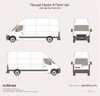 2010 Renault Master Panel Van LWB High Roof FWD Van blueprint