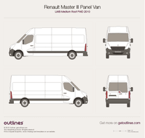 2010 Renault Master Panel Van LWB Medium Roof FWD Van blueprint