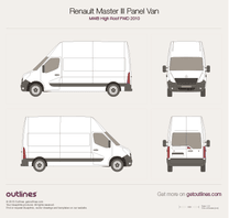 2010 Renault Master Panel Van MWB High Roof FWD Van blueprint