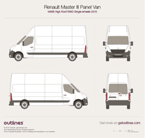 2010 Renault Master Panel Van MWB High Roof RWD Van blueprint