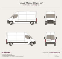 2010 Renault Master Panel Van MWB Medium Roof FWD Van blueprint