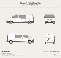 2007 Renault Trafic X83 Crew Van LWB Low Roof Facelift Van blueprint