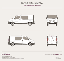 2007 Renault Trafic X83 Crew Van SWB Low Roof Facelift Van blueprint