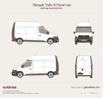 2014 Renault Trafic X82 Panel Van LWB High Roof Van blueprint