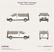 2007 Renault Trafic X83 Passenger SWB Low Roof Facelift Wagon blueprint