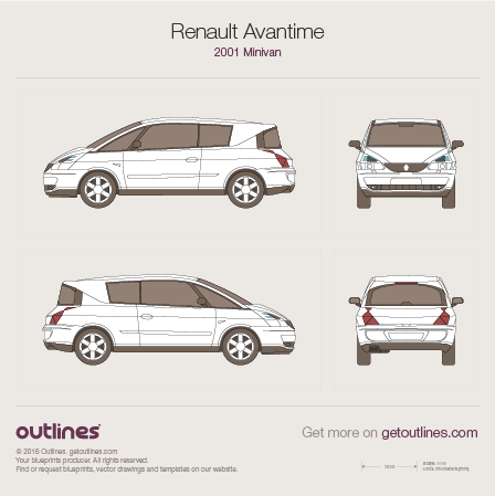 2001 Renault Avantime Minivan blueprints and drawings