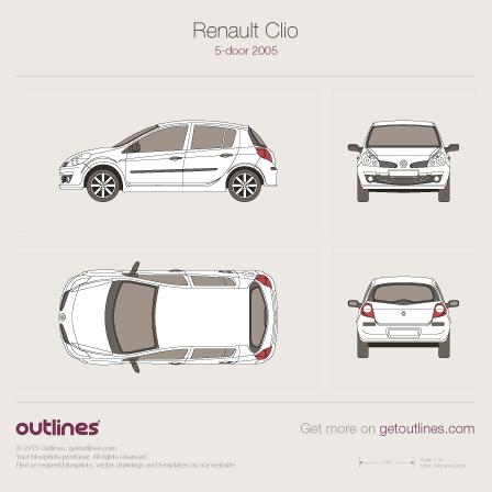 2005 Renault Clio III Hatchback blueprints and drawings