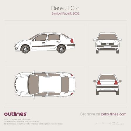 2002 Renault Clio Symbol Facelift Sedan blueprint