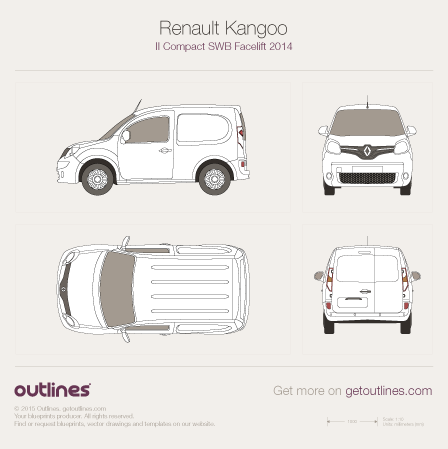 2014 Renault Kangoo Compact Van SWB Facelift Van blueprint