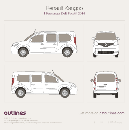 2014 Renault Kangoo Passenger Wagon blueprints and drawings