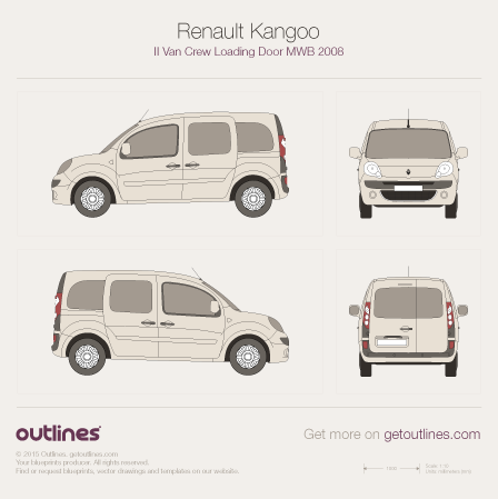 2008 Renault Kangoo Van Wagon blueprints and drawings