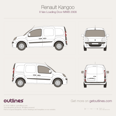 2008 Renault Kangoo Van Loading Door MWB Van blueprint