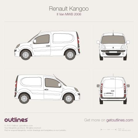 2008 Renault Kangoo Van MWB Van blueprint
