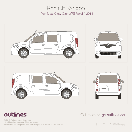 2014 Renault Kangoo Maxi Van Van blueprints and drawings