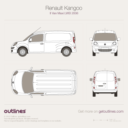 2008 Renault Kangoo Maxi Van Van blueprints and drawings