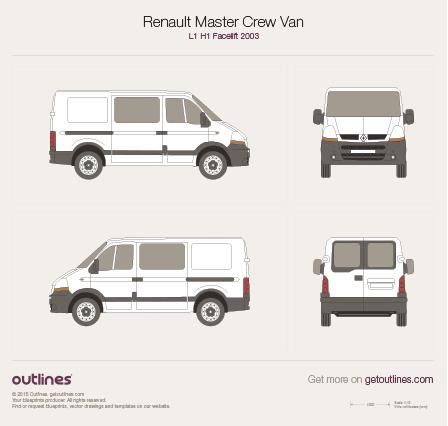 2003 Renault Master Crew Van L1 H1 Facelift Van blueprint