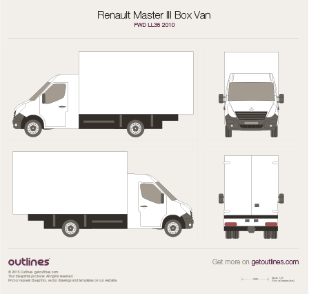 2010 Renault Master Box Van Van blueprints and drawings