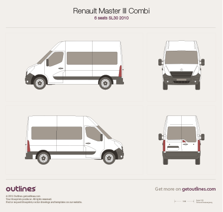 2010 Renault Master Combi Minivan blueprints and drawings