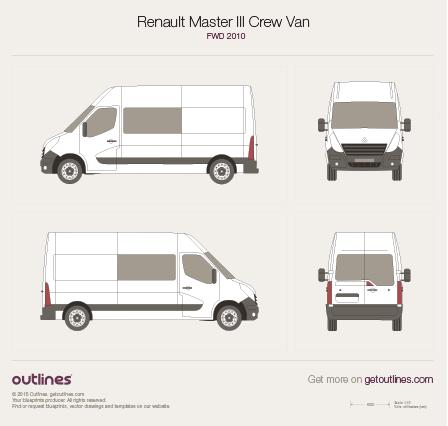 2010 Renault Master Crew Van FWD Van blueprint
