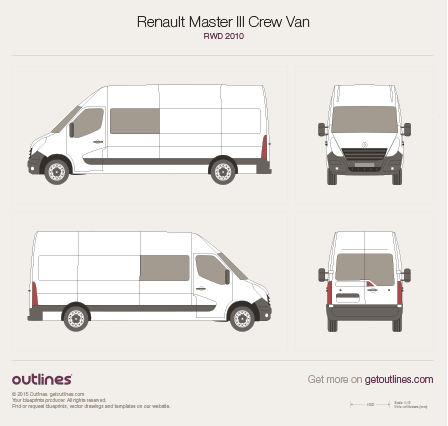 2010 Renault Master Crew Van Van blueprints and drawings