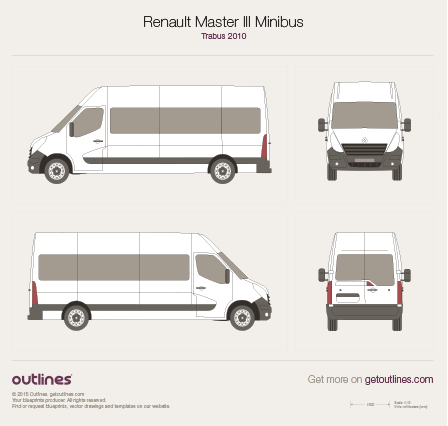 2010 Renault Master Minibus Bus blueprints and drawings