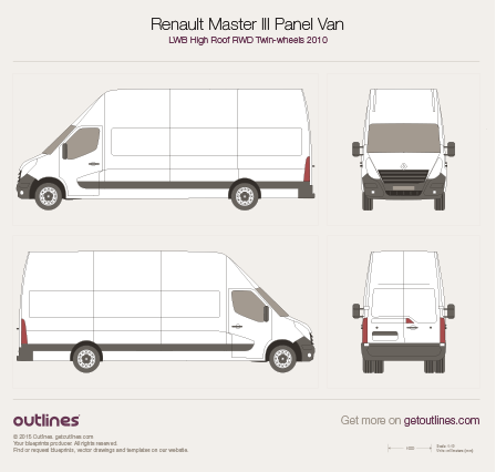 2010 Renault Master Panel Van LWB High Roof RWD Twin Wheels Van blueprint