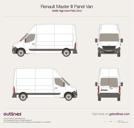 2010 Renault Master Panel Van Van blueprints and drawings
