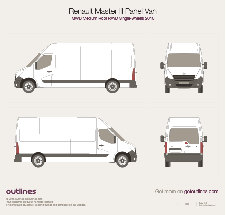 2010 Renault Master Panel Van MWB Medium Roof RWD Van blueprint