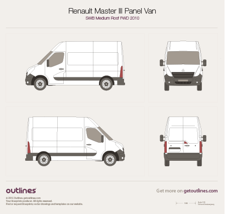 2010 Renault Master Panel Van Van blueprints and drawings