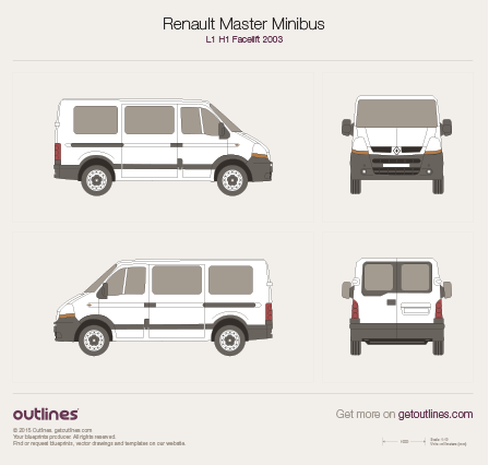 2003 - 2010 Renault Master Minibus L1 H1 Facelift Wagon drawings