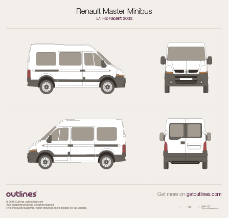 2003 - 2010 Renault Master Minibus L1 H2 Facelift Wagon drawings