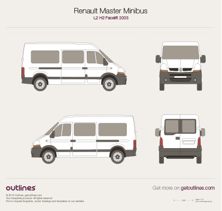 2003 - 2010 Renault Master Minibus L2 H2 Facelift Wagon drawings