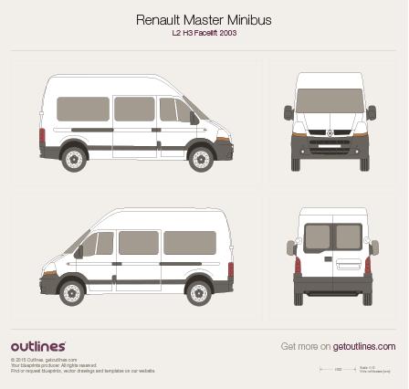 2003 Renault Master Minibus L2 H3 Facelift Wagon blueprint