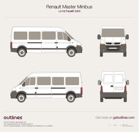 2003 Renault Master Minibus L3 H2 Facelift Wagon blueprint