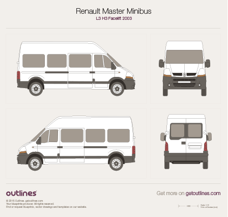 2003 Renault Master Minibus Bus blueprints and drawings