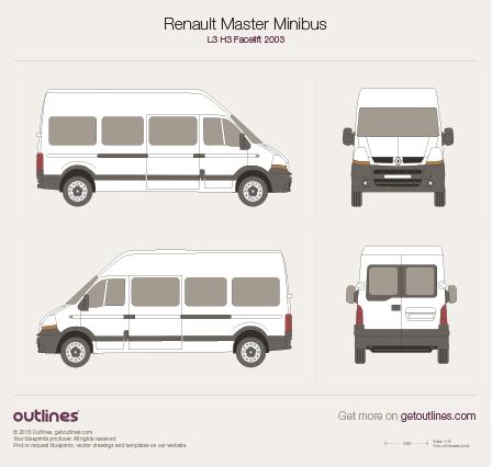 2003 Renault Master Minibus L3 H3 Facelift Bus blueprint
