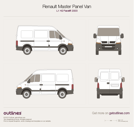 2003 Renault Master Panel Van L1 H2 Facelift Van blueprint