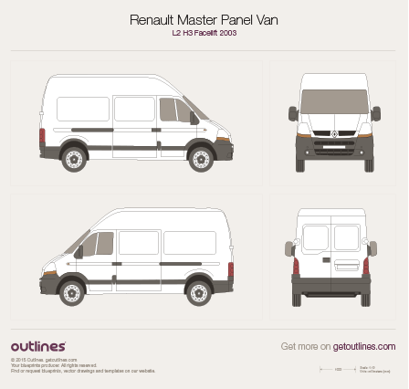 2003 Renault Master Panel Van L2 H3 Facelift Van blueprint