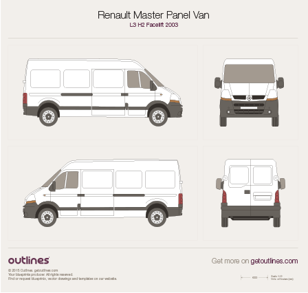 2003 Renault Master Panel Van L3 H2 Facelift Van blueprint